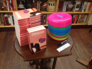books and frisbees